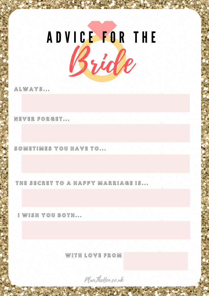 advice for the bride printable