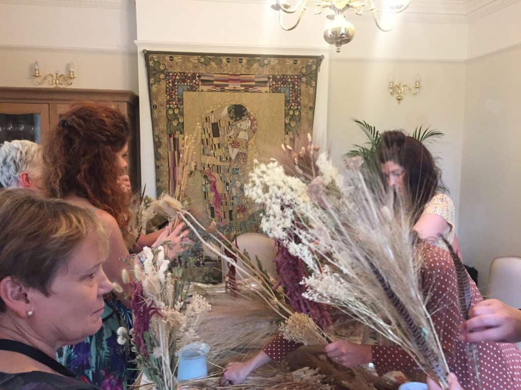 hen party ideas making dried flower bouquets