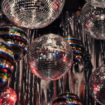glitterballs on ceiling