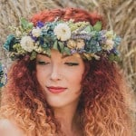 redhead in dried flower crown