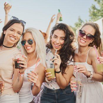 women drinking in garden
