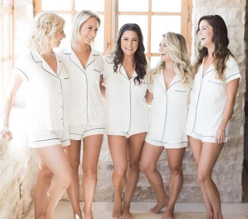 girls wearing matching pyjamas