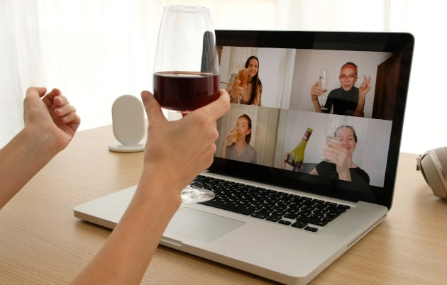 image of girls drinking for virtual hen party