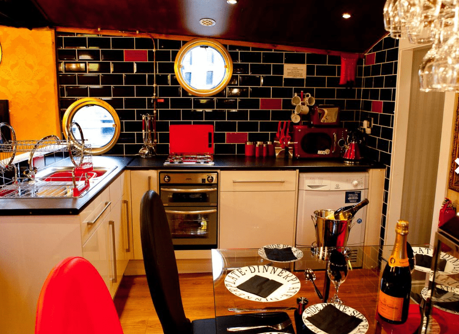 image of kitchen on liverpool party boat