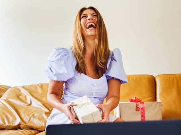 image of bride receiving gifts via zoom