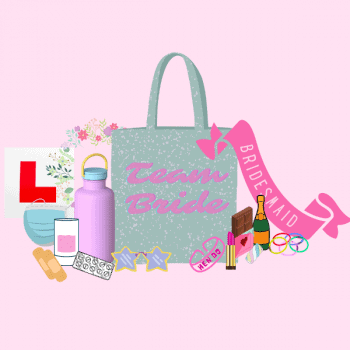 team bride bag surrounded by hen party bag fillers
