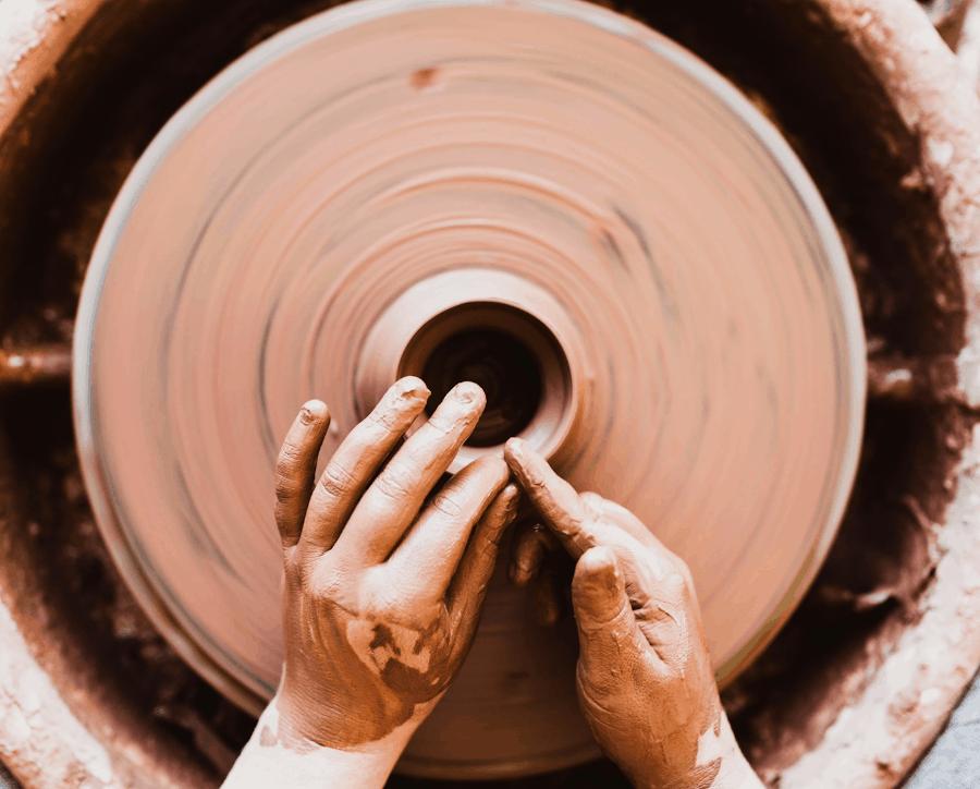 women doing pottery
