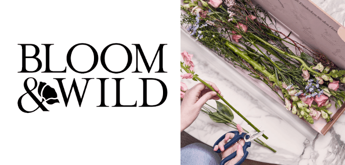 bloom and wild logo plus flowers being cut