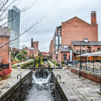 manchester canalside with bars