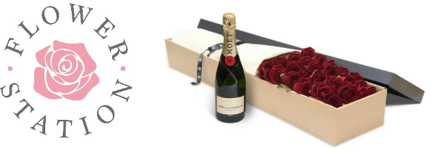 flower station logo and a box of roses and champagne bottle