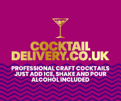 cocktail delivery logo on purple background